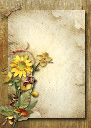 Vintage vertical card with autumn bouquet and sunflower