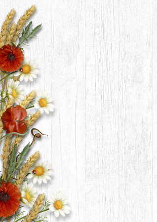Vintage wooden background with border of wildflowers and ears