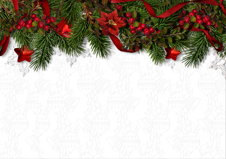 Christmas background with border of holly, firtree and poinsettia Фото со стока