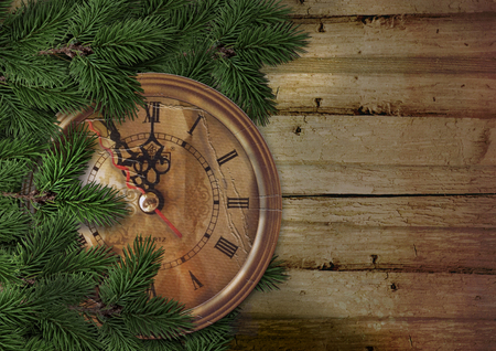 Christmas or New Year background with fir tree and vintage clock