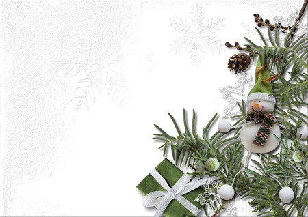 Christmas and New Year decorations with coniferous branches on a white background Фото со стока