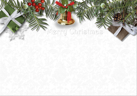 Christmas card with bell, holly and gift on white background Stock Photo
