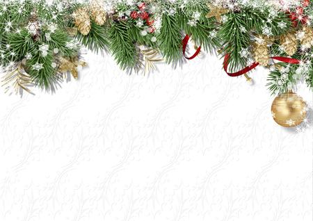 Sfondo bianco di Natale con agrifoglio, cono, neve e abete Archivio Fotografico