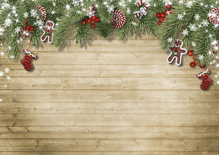 Christmas holidays background with candy cane, holly and fir-tre