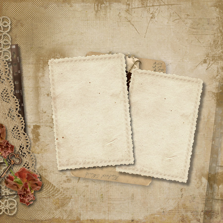 Vintage background with old cards Фото со стока