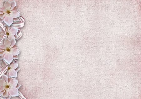 Vintage shabby pink background with a border of flowers