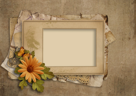 Grunge vintage background with old frame and flower Фото со стока
