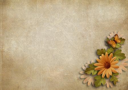 Grunge vintage background with flower