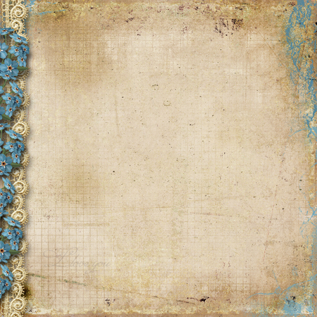 Grunge background with forget-me-nots and lace
