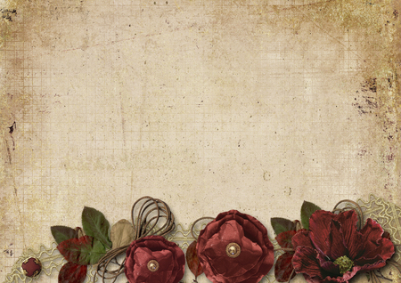 Vintage background with burgundy flowers