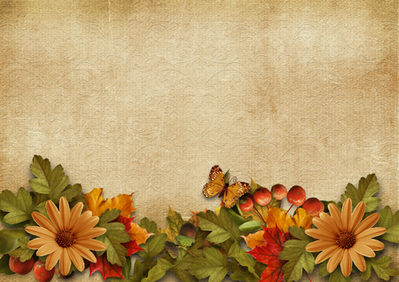 Vintage background with autumn leaves border Фото со стока