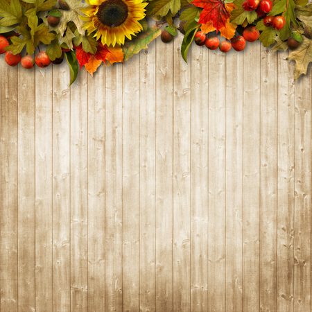 Autumn leaves on a wooden background with copy space