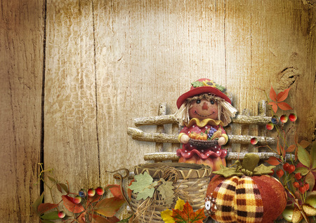 Autumn illustration with pumpkin and scarecrow on the boards Фото со стока
