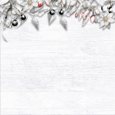 Christmas border with snow Фото со стока