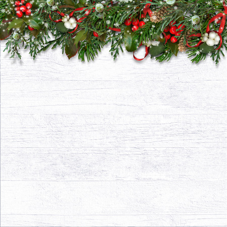 Christmas white with branches, holly and cones