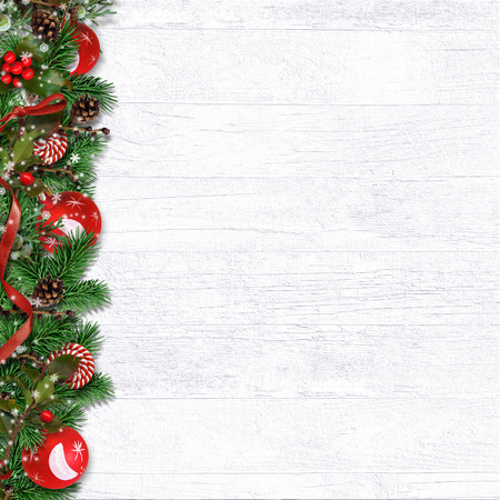 Christmas border with branches, balls, holly and cones