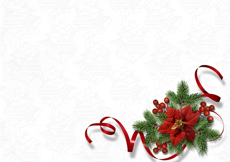 Christmas greeting card with holiday decorations