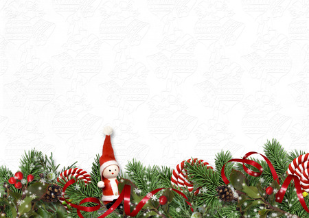 Christmas garland with candy cane and fir tree on white background. Greeting card