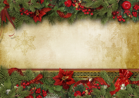 Christmas greeting card with holly, poinsettia and firtree