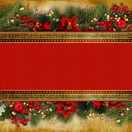 Kerst spandoek. Achtergrond Xmas-ontwerp van prachtige guirlande
