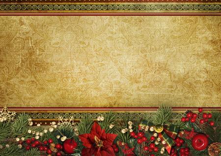Christmas banner. Background Xmas design of superb garland