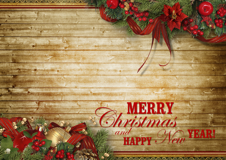 Christmas holidays composition on grunge background with copy space for your text. Christmas vintage greeting card Фото со стока
