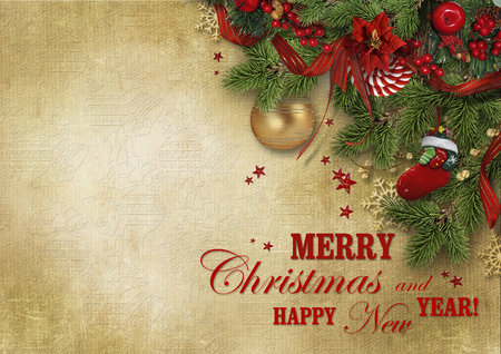 Christmas greeting card with wishes and copy space for your text or photo. beautiful vintage Christmas background