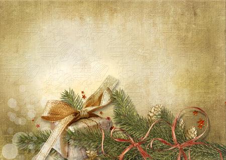 Christmas background with gift Фото со стока