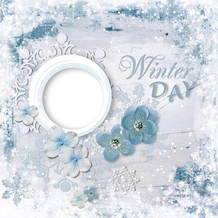 Winter frame card with nice flowers Фото со стока