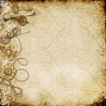 Vintage background card with shabby paper flowers Фото со стока