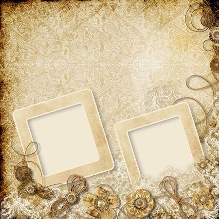 Vintage background with shabby photo-frame Фото со стока