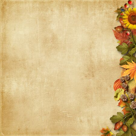 Vintage background with leaves