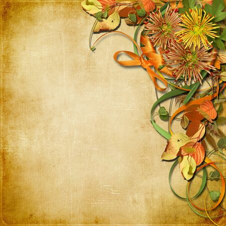 Vintage background with autumn bouquet with copy space