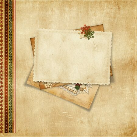 Christmas vintage background with greeting card