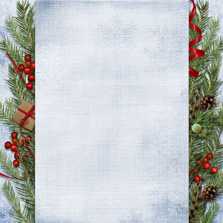 Christmas firtree with holly, cones on white background. Greeting banner