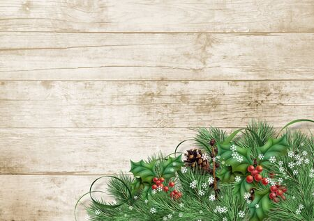 Christmas background with border with holly and branches on wooden board