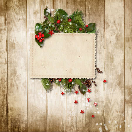 Christmas vintage card with holly, firtree and grunge postcard. Greeting card with copy space