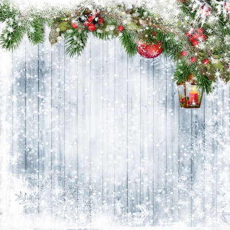 Merry Christmas. Holiday background with holly and magic lamp on snow boards