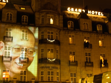 political prisoner: Nobel price 2010 in Oslo 10.12.2010 - Liu Xiaobo portrate on the wall of Grand hotel