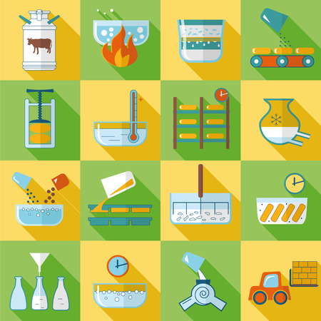 dairy product: set of flat icons dairy product production Illustration
