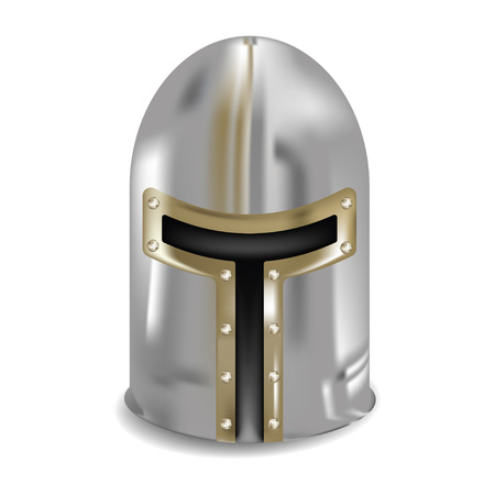army face: medieval helmet for head protection with slits for the eyes and mouth vector