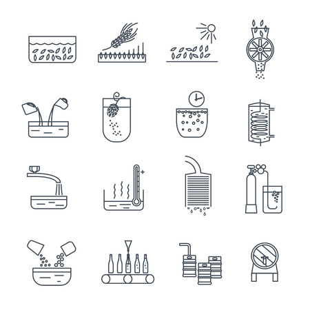 set of thin line icons beer production process Stock Illustratie