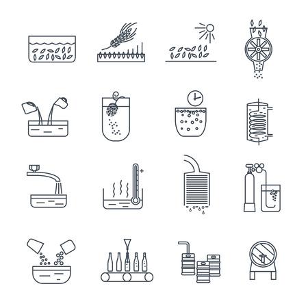 set of thin line icons beer production process Ilustração
