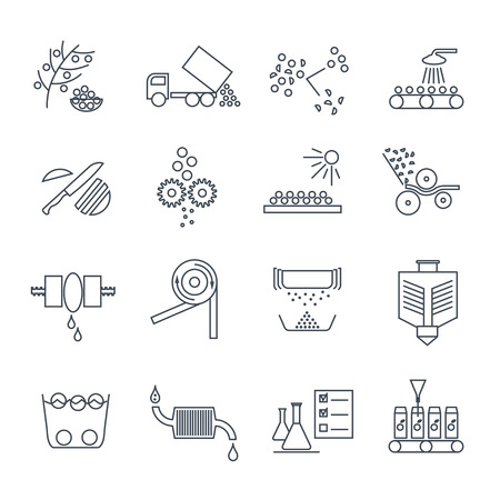 set of thin line icons juice production process