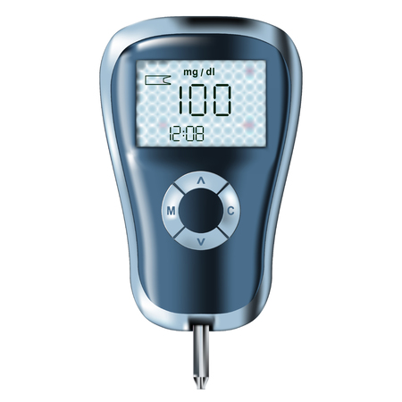 glucose: blood glucose meter glucometer, diabetes blood glucose test isolated vector