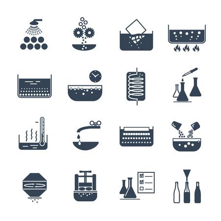 set of black icons manufacture of beverages production process Ilustração