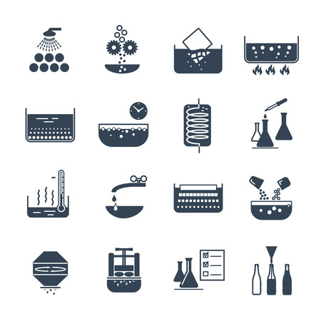 set of black icons manufacture of beverages production process Stock Illustratie