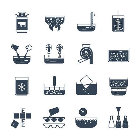 pasteurization: set of black icons manufacture of dairy products production process
