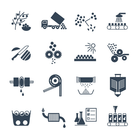 icons: set of black icons manufacture of juice production process