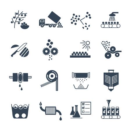 set van zwarte pictogrammen vervaardiging van sap productieproces